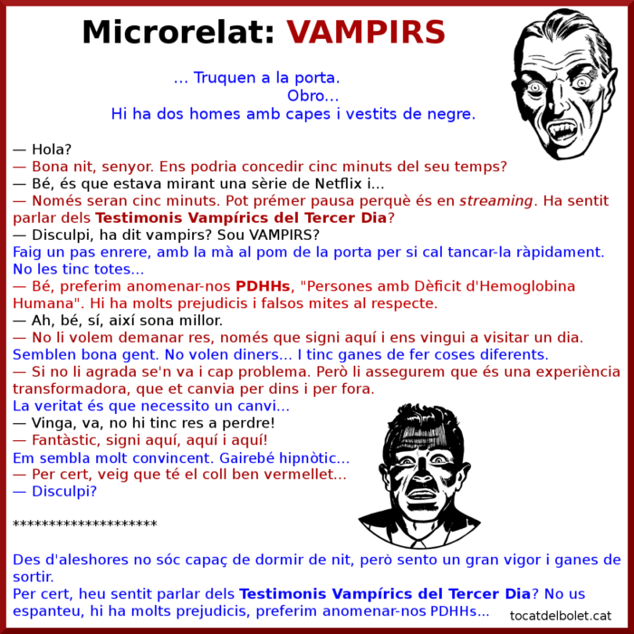 Relats breus en català. Contes breus. Microrelats. Literatura. Històries. Microrelat en català Vampirs relat breu en català sobre vampirs minirelat en català+ microhistoria en català