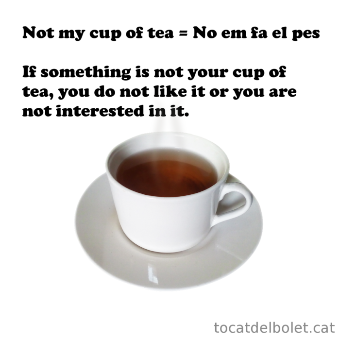 It is not my cup of tea in other languages  idioms English idioms in Catalan English idioms in Spanish English idioms in French English idioms in German English idioms in Italian English idioms in Portuguese