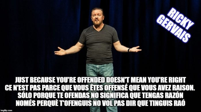 Ricky gervais quote offended cita Ricky Gervais frase