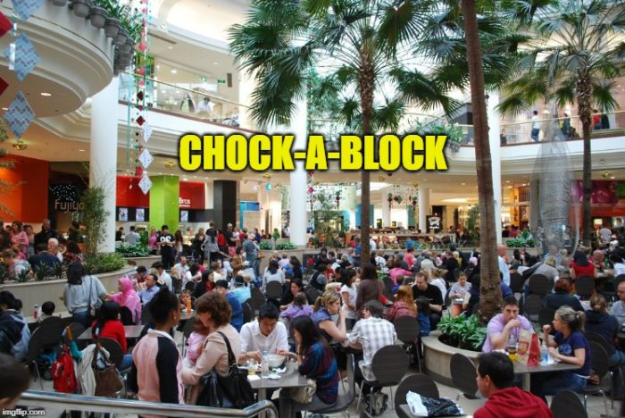 chock-a-block British English slang words UK Colloquial