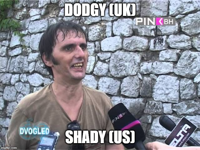 dodgy shady British English slang words UK Colloquial