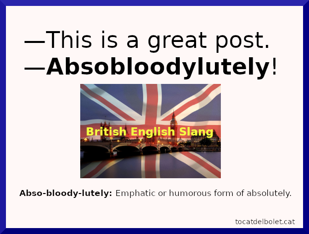 absobloodylutely british English slang words