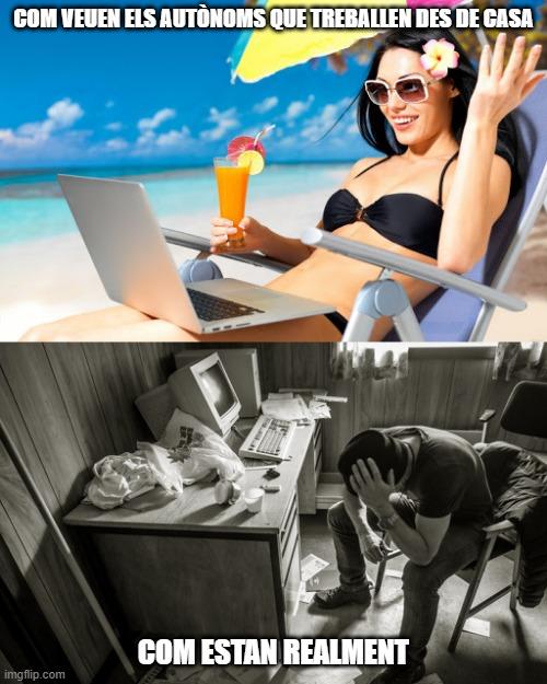 treball autònom des de casa acudit freelance freelancers teletreball