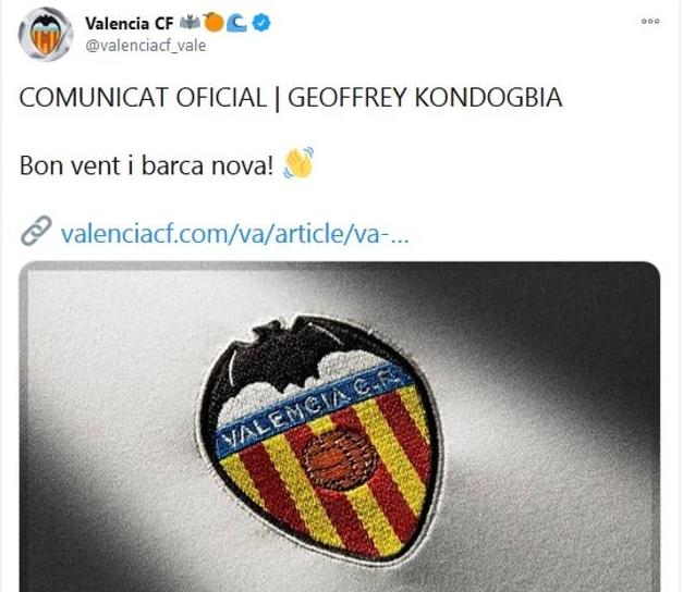 Bon vent i barca nova al compte del València CF dirigit a Valencia CF Geoffrey Kondogbia