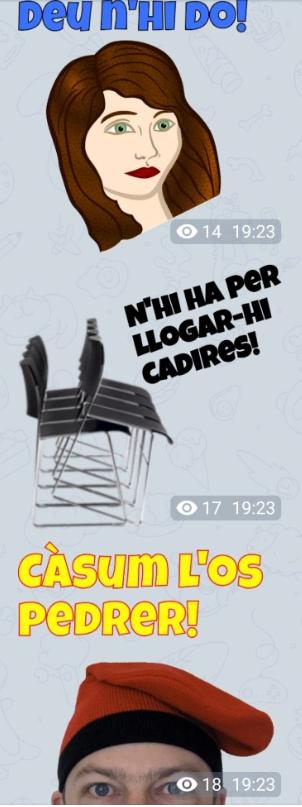 Stickers en català per a Telegram Adhesius en llengua catalana Enganxines en català 100% Gratis! whatsapp stickers catalans